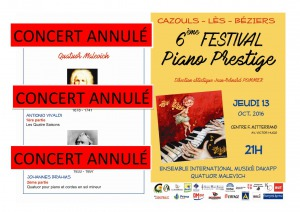 Festival : Concert annulé
