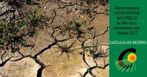 Reconnaissance catastrophe naturelle - sécheresse année 2017