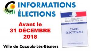 ÉLECTIONS - Réforme des liste électorales au 1er Janvier 2019 - Édition des nouvelles cartes élector