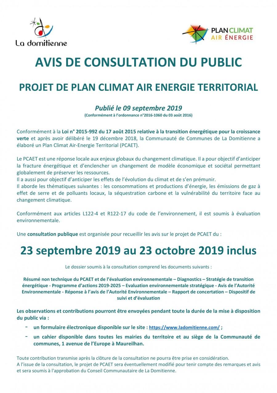 Avis de Consultation du public - projet de plan climat air énergie territorial