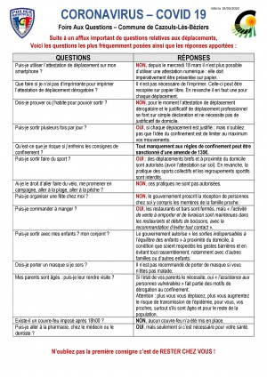 Coronavirus - Foire Aux Questions