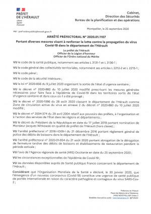 COVID19 I Arrêté Préfectoral N•2020.01.1107 portant diverses mesures visant à renforcer la lutte