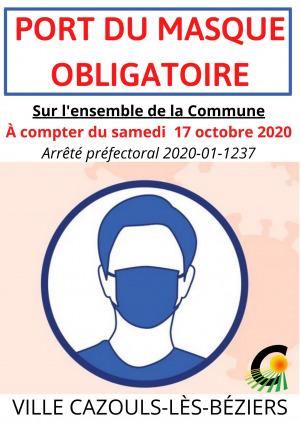 COVID 19 | Port du masque obligatoire | Couvre feu