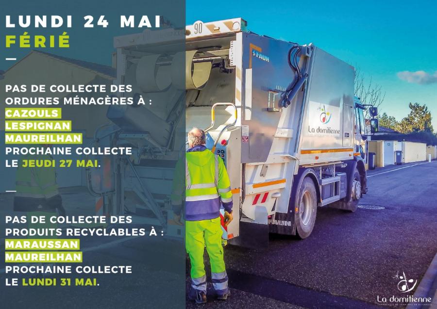 Collecte ordures ménagères : lundi 24 mai 2021 - Pentecôte