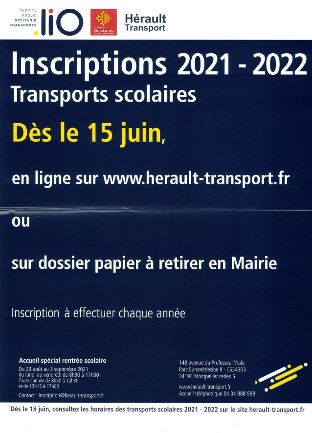 Inscription - Transport scolaire 2021- 2022