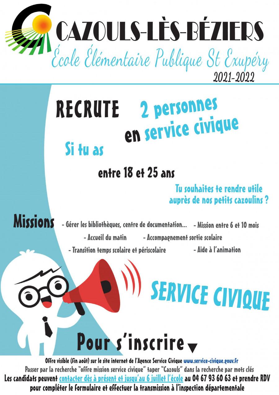 Service civique - Recrutement 2021 -2022