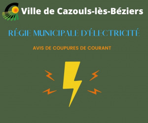 Régie Municipale d'Électricité - Avis de  coupures de courant