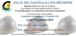 Commémoration du 11 novembre 2019